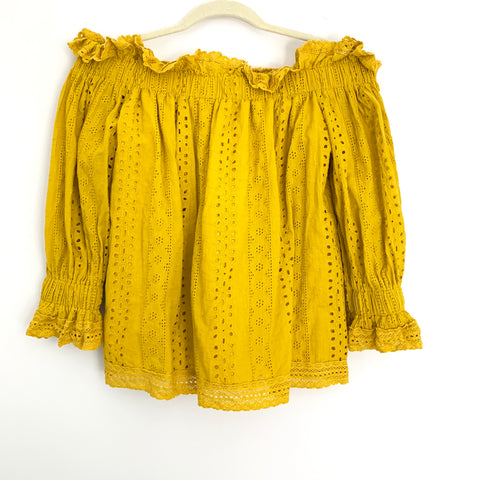Endless Rose Mustard Eyelet Off the Shoulder Blouse- Size XS