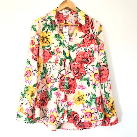 Express Pink Floral Long Sleeve Button Up NWT- Size L