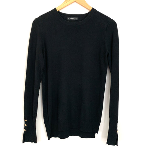 Zara Knit Black Sweater with Gold Buttons on Sleeves- Size M