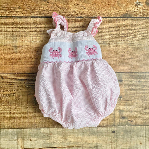 Classic Whimsy Pink Smocked Crab Ruffle Romper- Size 3M