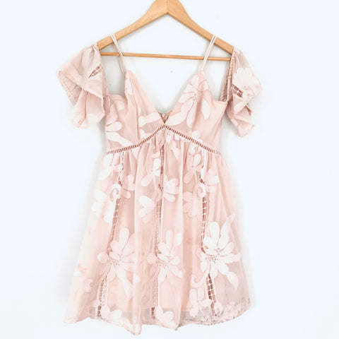 Lovers + Friends Blush Pink Embroidered Dress- Size XS