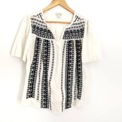 Hinge Ivory & Black Embroidered Blouse- Size XS