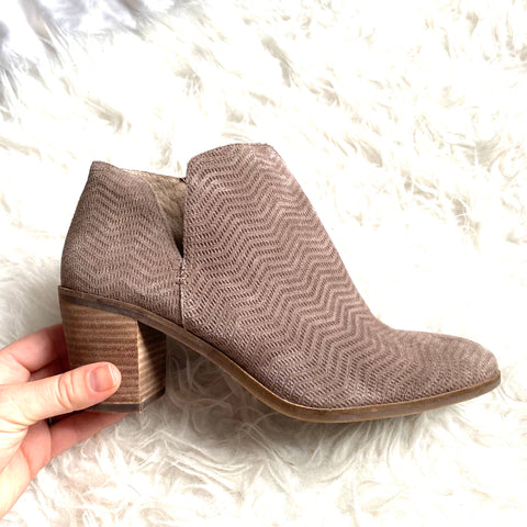 Lucky Taupe Suede Side Cut Out Booties- Size 9 (Great condition!)