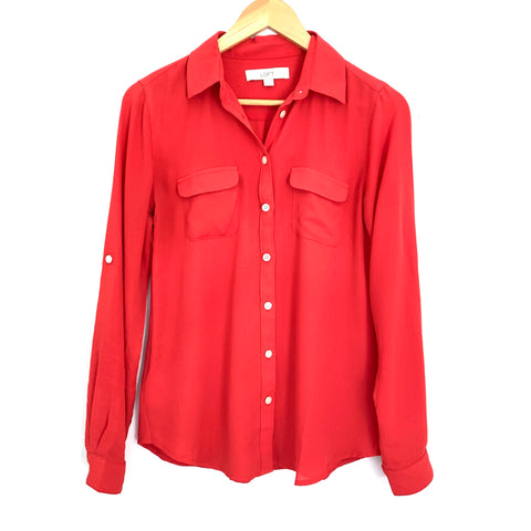 LOFT Red Polyester Button Up Blouse- Size XS