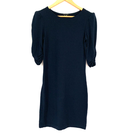 Theory Fitted Navy Cotton Stretch Dress with Puffed Sleeves- Size S