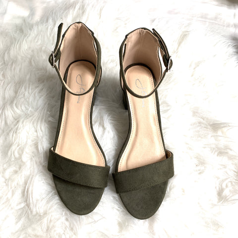 J Adams Suede Olive Green Low Block Heel- Size 6
