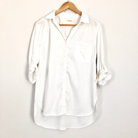 Sneak Peek White Button Up 100% Tencel NWT - Size S