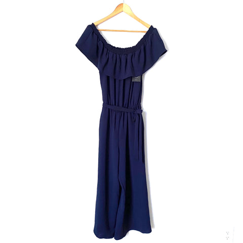 Gibson Navy Off the Shoulder Wide Leg Jumpsuit NWT- Size XXS