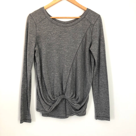 Zella Grey Long Sleeve Twist Front Top- Size XS