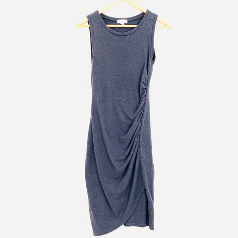 Leith Heathered Navy Ruched Dress- Size XS