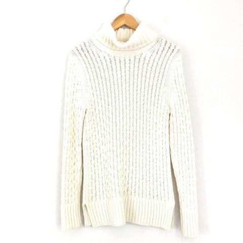 J Crew Cream Wool Blend Turtleneck Sweater- Size S