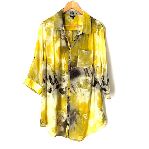 Torrid Yellow and Black Chiffon Button Down Top- Size 0