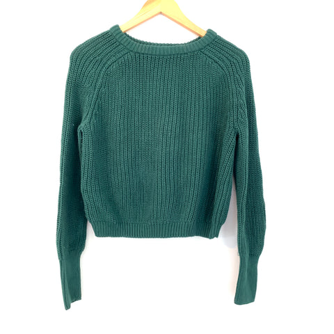 American Apparel Fisherman Hunter Green Cropped Sweater- Size L (see notes)