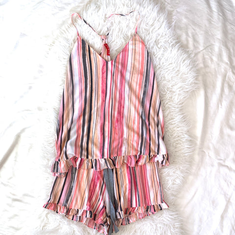 Josie Pink Striped Cotton Two Piece Pajama Set- Size S