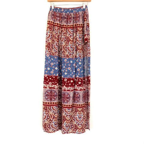 No Brand Maroon Patterned Wrap Skirt with Hidden Shorts- Size S