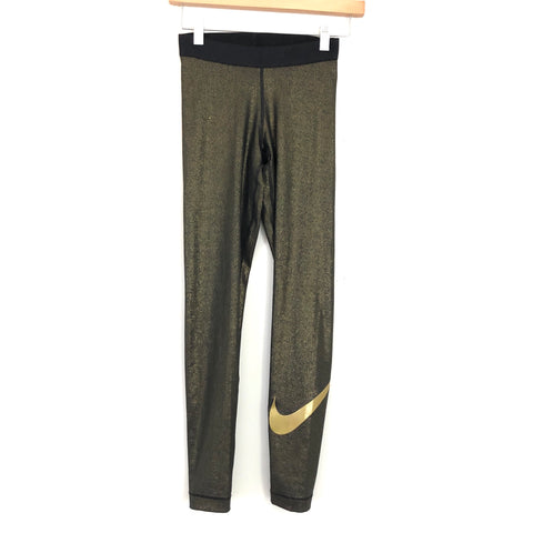 "Nike Dry-Fit Black and Gold Legging - Size XS (26"" Inseam) (see notes)"