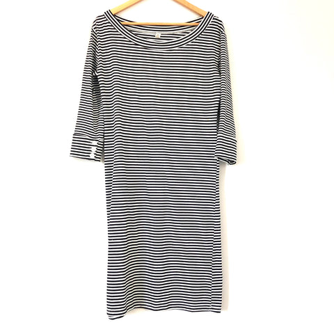 Lila Rose Navy Striped Dress with Button Sleeves- Size M