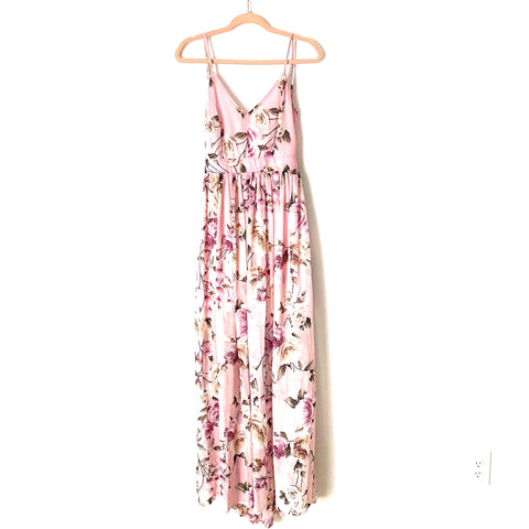 Pink Lily Pink Open Back Floral Maxi Dress- Size L (see notes)