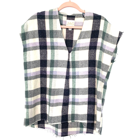 JAG Plaid Flannel V-Neck Cap Sleeve Distressed Hem Top- Size S