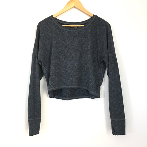 Zella Cropped Heathered Soft Long Sleeve- Size S