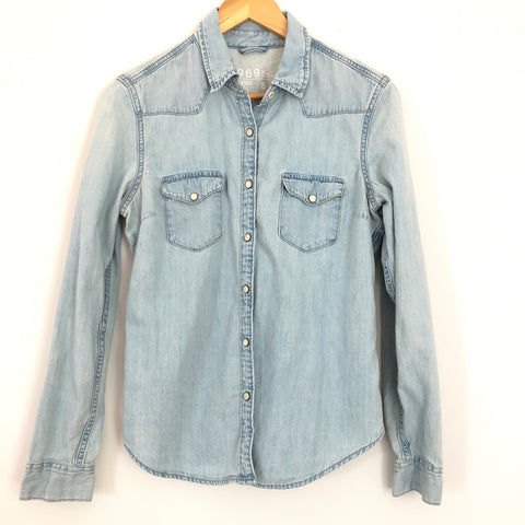 Gap Light Demin Button Up with Pearl Buttons - Size S