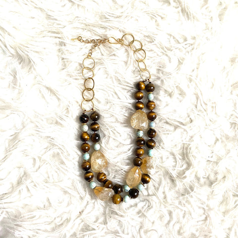 Hazen & Co Estelle Necklace, Tiger Eye