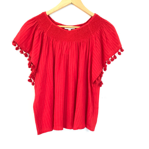 Moon River Red Smocked Neckline and Tassel Sleeve Dolman Top NWT- Size XS