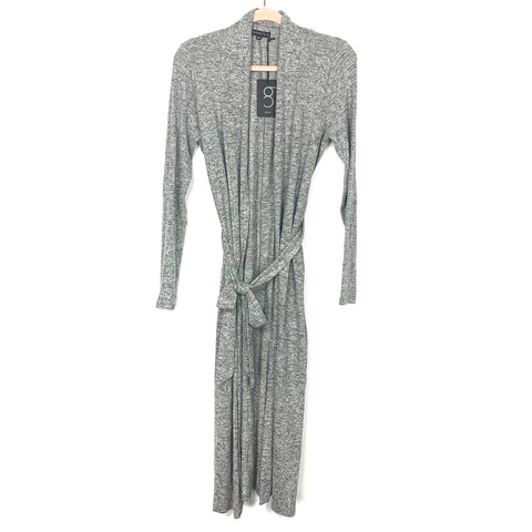 Gibson Look Heathered Grey Long Belted Cardigan NWT- Size XXS