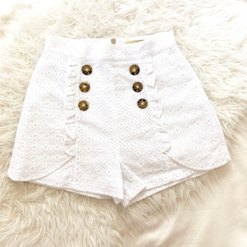 Lauren James White Crochet Ruffle Shorts- Size S