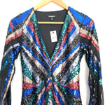 Express Long Sleeve Deep V Full Sequin Dress NWT- Size S