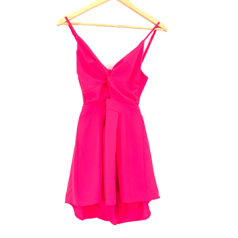 Luxxel Hot Pink Front Cut Out and Back Tie Romper- Size S