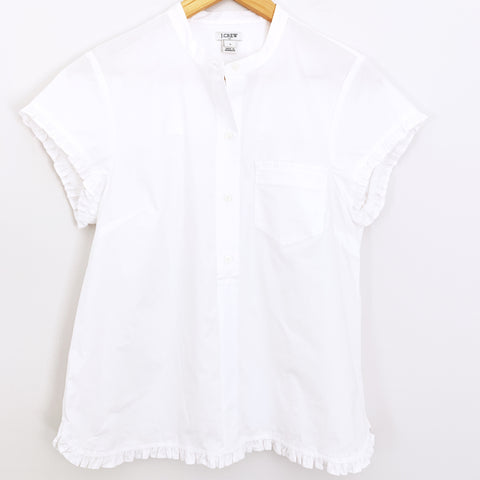 J Crew White 3/4 Button Up Ruffle Sleeve/Hem Top- Size S