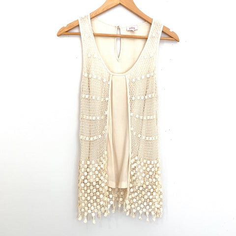 Pixley Cream Top with Crochet Detail- Size XS