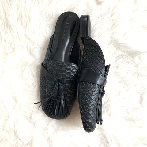 Bernado Black Crocodile Embossed Mules- Size 6