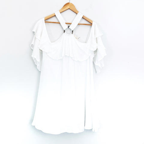Entro White Cold Shoulder Ruffle Sleeve Dress- Size S