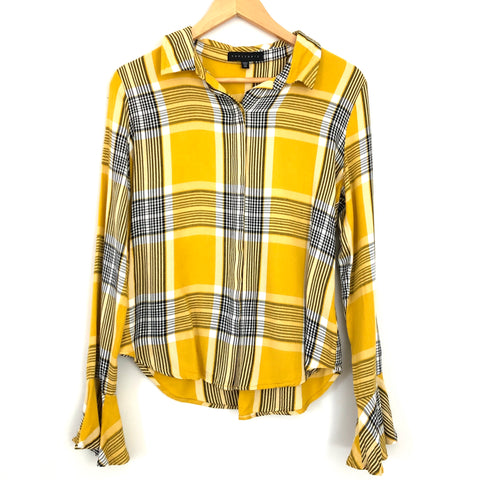 Sanctuary Yellow Plaid Ruffle Cuff Blouse- Size XS