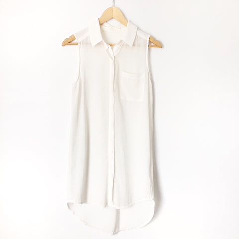 Lush White Sheer Sleeveless Tunic/Dress- Size S (see notes)