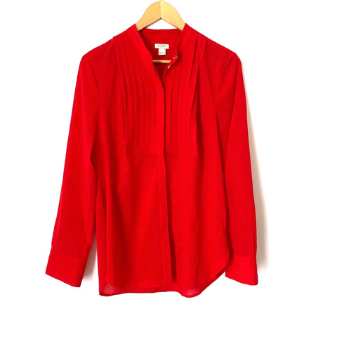 J. Crew Red Button Up Long Sleeve Blouse- Size S