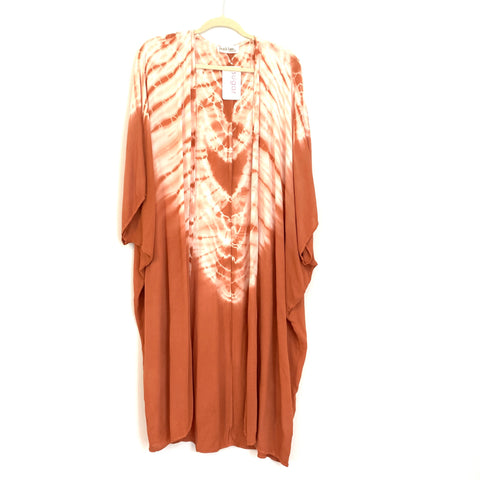Peach Love Orange Tie Die Duster Kimono NWT- Size S