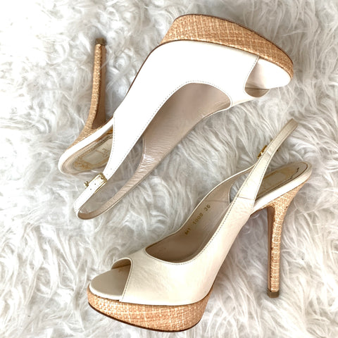 Christian Dior White Straw Slingback Heels- Size 36