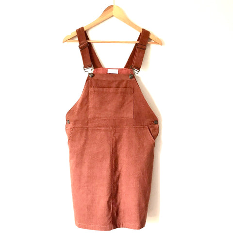 Pink Lily Rust Corduroy Overall Dress- Size S