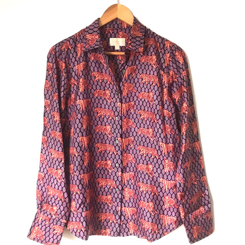 J Crew Collection Tiger Silk Twill Button Up Blouse- Size 4