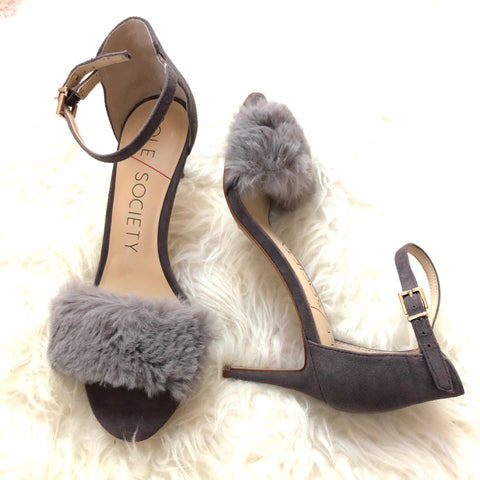 Sole Society Faux Fur Stilettos- Size 8