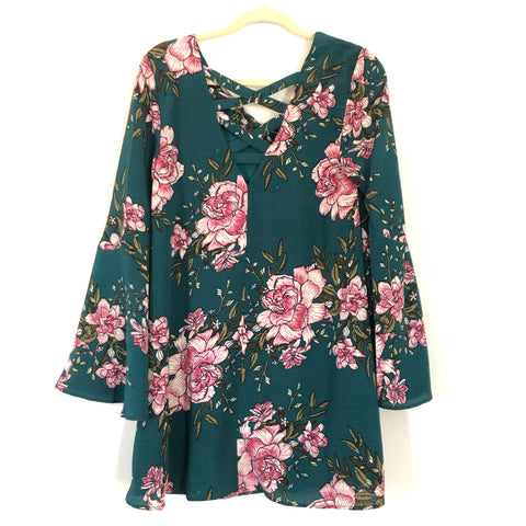 Loveriche Dark Teal Floral Bell Sleeve NWT- Size S