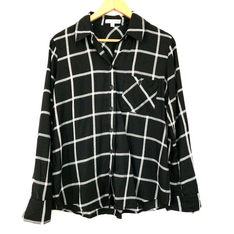 Socialite Black & White Check Button Up Blouse- Size S