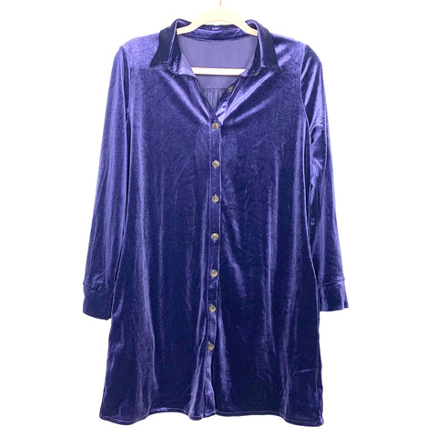 No Brand Blue Velvet Button Up Dress- Size S