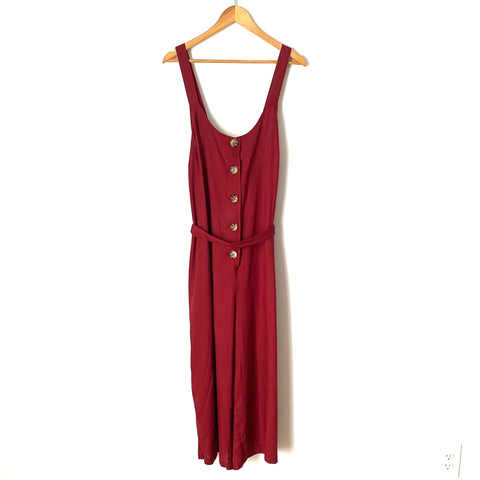 ModCloth Burgundy Button Wide Leg Cropped Jumpsuit NWT- Size XL