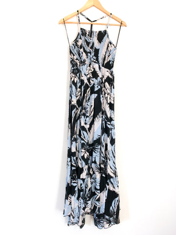 Free People Inimately Black Floral Dress Smocked Halter Bodice NWT- Size S