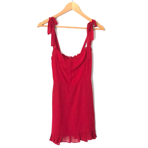 Reformation Red Ruffle Hem Christine Mini Dress- Size 0