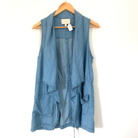 Skies are Blue Chambray Vest with Tie- Size XS